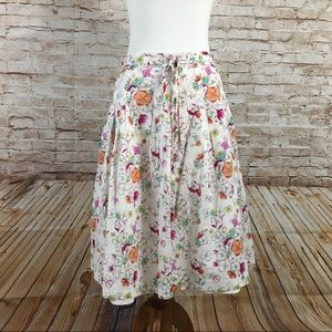 French Connection White Cotton Floral Skirt